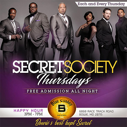 Secret Society at Blue Sunday Bar and Grill