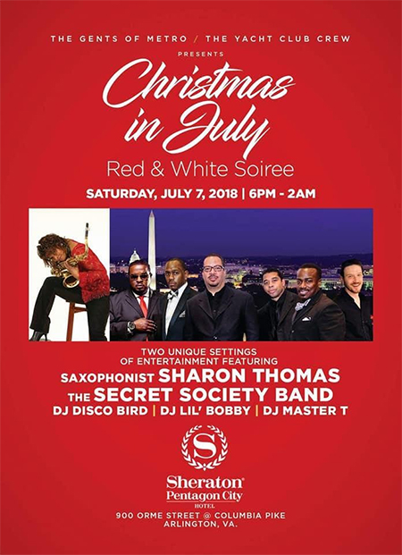 Christmas in July Red and White Soiree flyer
